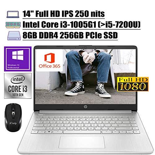 2020 Latest Flagship HP 14 Laptop Computer 14'Full HD IPS 250 nits 10th Gen Intel Core i3-1005G1 (Beats i5-7200U) 8GB DDR4 256GB PCIe SSD Backlit USB-C Office 365 Win 10 Pro + iCarp Wireless Mouse