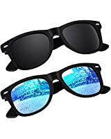 SUNIER Polarized 80's Retro Classic Square Frame Sunglasses Brand Designer SR003 2 Pack