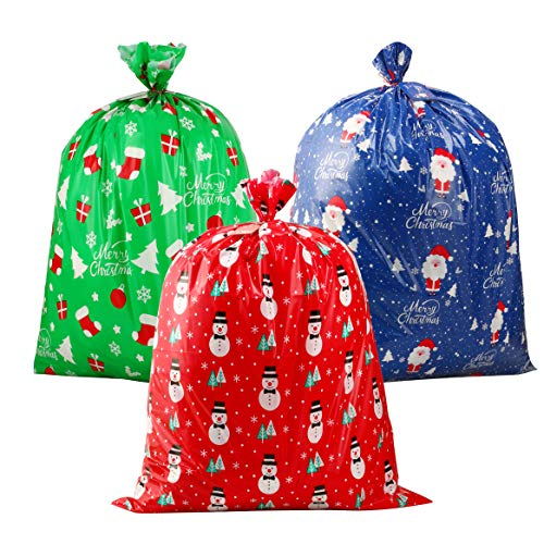 CCINEE 3 PCS Christmas Giant Gift Bags Santa Claus Christmas Sacks for Kids Gift Wrapping Bags(36'x44') with Name Tag Card and String