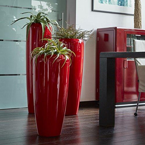 Moderne & Hochwertige Pflanzvase/Pflanzkübel – Medium: 100cm - Hochglanz Rot -Fiberglas - Mit Einsatz – Indoor & Outdoor – Wetterbeständig & Frostsicher – Vase/Kübel