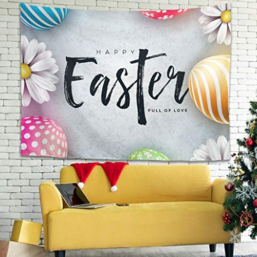 Tapiz de huevo de conejo de Pascua hermoso para colgar en la sala de estar, fundas de sofá, tapiz, blanco 149,9 x 129,5 cm