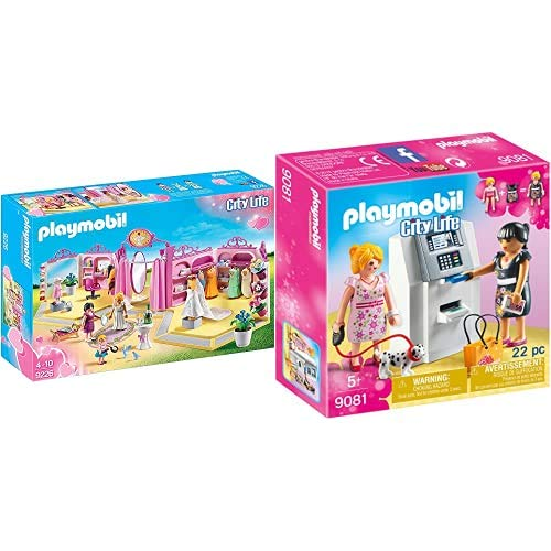 PLAYMOBIL- City Life-Tienda de Novias Conjunto de figuritas, Multicolor, Talla Única (9226) + Centro Comercial- Cajero Automático Playset de Figuras de Juguete, Multicolor