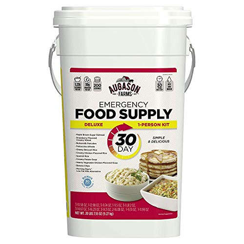 Augason Farms 5-20091 Deluxe Emergency 30-Day Food Supply (1 Person), 200 Servings, 36,600 Calories, Net Weight 20 lbs. 7 oz. (Pack of 3)