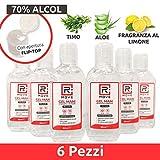 RMOVE gel igienizzante mani antibatterico 70% ALCOL disinfettante mani profumato al limone arricchito con olii essenziali di Aloe e Timo (6, 80ml)