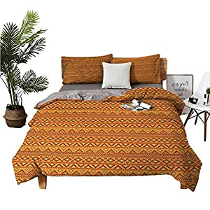 DRAGON VINES Four-Piece Bedding BedclothesFlat Sheet Satin Sheets Folkloric Borders Triangle Motifs with Circles and Abstract Sun Figures Orange Yellow Burgundy Man and Woman