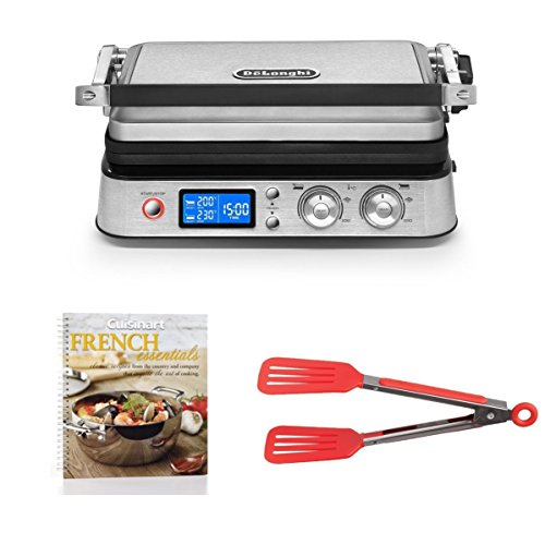 DeLonghi America CGH1020D Livenza All Day Combination Contact Grill and Open Barbecue, Stainless Steel Includes 8-inch Nylon Flipper Tongs and Cookbook