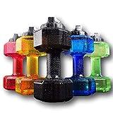 75 Oz (2.2 L) Dumbbell Shaped Water Bottle | Big Capacity | BPA Free | Flip Top Leak Proof lid | 6 Colors (Black)