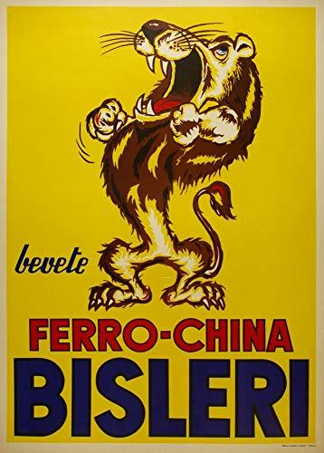 Vintage bieren, wijnen en sterke drank 'Ferro-China Bisleri, Italië, jaren 50, 250gsm Zacht-Satijn Laagglans Reproductie A3 Poster
