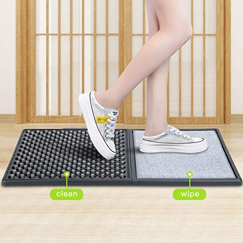 Shoe Disinfecting Mats for Entrance, Sanitizing Mat for Shoe Soles Disinfectant Floor Mats Automatic Cleaning for Home Hospital Restaurant, Indoor Outdoor, Household Foot Pads,Easy to Install(Gray)
