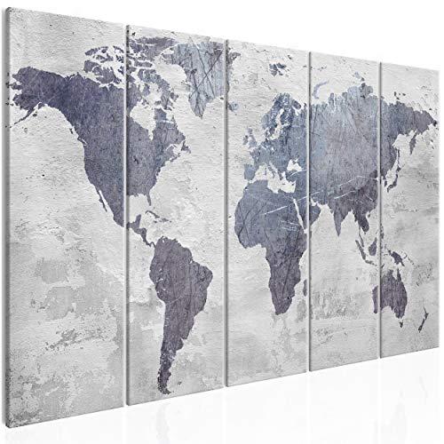 decomonkey Bilder Weltkarte 200x80 cm 5 Teilig Leinwandbilder Bild auf Leinwand Wandbild Kunstdruck Wanddeko Wand Wohnzimmer Wanddekoration Deko grau Steineffekt Kontinente Map Welt