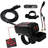 SAE to USB Adapter Motorcycle Handlebar Phone Charger Waterproof BUENNUS Smart Quick Charge 3.0 Easy Disconnect Power Outlet Plug with Voltage Meter Dual QC3.0 USB Charger