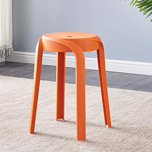 QTQHOME Plastic Bar Stools Set Of 4,Indoor Outdoor Counter Height Stool,Counter Bar Stool,Stackable Backless Lightweight Bar Stools-Orange 27x27x46cm(11x11x18inch)