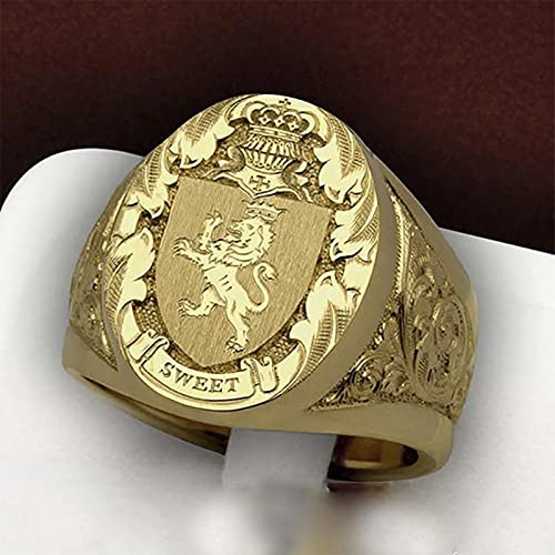 Único Royal Lion Crown Pattern Stamp Logo Big Gold Color Ring Hombres Anillo exagerado Cóctel Party Finger Jewelry