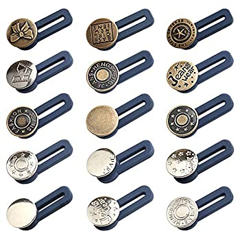 17mm Button Waist Extender Jeans Buttons Replacement Kit Waistband Extender Pants for Men Women Jeans Skirts Trousers Collars 15 Styles