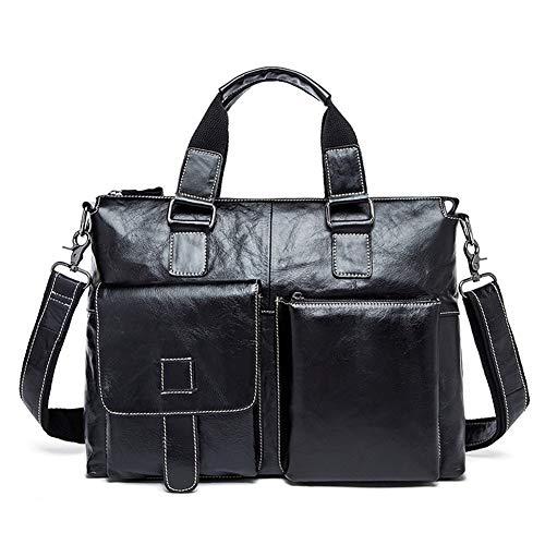 Multifunktionale beiläufige große Kapazitäts-Mode-Beutel der Männer echtes Leder-Handtasche Business Casual Executive-Aktenkoffer PANFU-DY (Color : Black, Size : S)