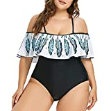 LSAltd Sommer Frauen Sexy Tube Top Sling Plus Größe One Piece Gepolsterte Bademode Damen Schöne Bunte Federdruck Rüschen Badeanzug Bikini Tankini