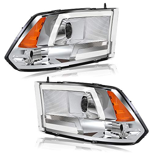 OEDRO LED Headlight Assembly Kit Compatible with Dodge Ram 2009-2018 1500 & 2010-2018 2500 3500 & 2019-2020 1500 Classic, Headlamp Housing Chrome Projector Headlights