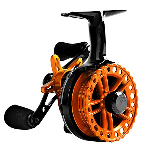Fiblink Inline Ice Fishing Reel Right/Left Handed 2.7:1 Gear Ratio Mental Fishing Raft Wheel Ice Reels (Orange-Left Handed)