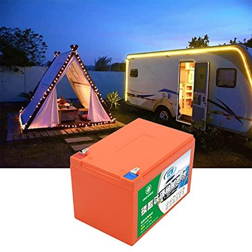Bateria Solar, 12V 12AH 2000+ Ciclos Vida útil de 5 Años Carga Solar LiFePO4 Batería de Ciclo Profundo para RV Cámping Caravana Solar Bote Inicio Almacenamiento,Naranja,1pcs