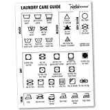 """Magnetic Laundry Care Guide by Talented Kitchen Includes Washing Symbols, Drying Symbols, Ironing Symbols, Bleach Symbols, Press & Dry Cleaning Symbols Size 5 x 7"""". 100% extra strength magnet. Stick to metal surfaces without causing any damage like a..."""