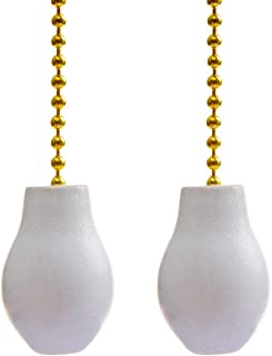 Saim 12 Inch Fan Pull Chain Decorative Light Pull Chains Extension Brass withWhite Wood Knob Pendantfor Lighting Ceiling Fans Lamp, Pack of 2