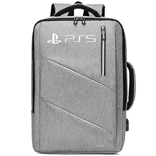 YWZQ Für PS5 Console Rucksack Aufbewahrungstasche Externe USB-Ladung Reise Handtasche für PS5-Spielkonsole Gepäcktasche,Grau