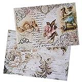 Ideen mit Herz 2 fogli di carta di riso | Carta per decoupage | DIN A4 | 2 diversi motivi | vintage, Natale e altro (ostalie 10)