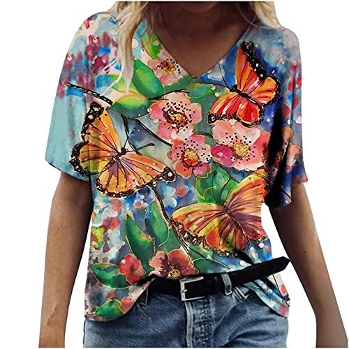 V-Neck Tops for Women,Women's Casual Loose Animal Print V-Neck Printed Short Sleeve T-Shirt Tops
