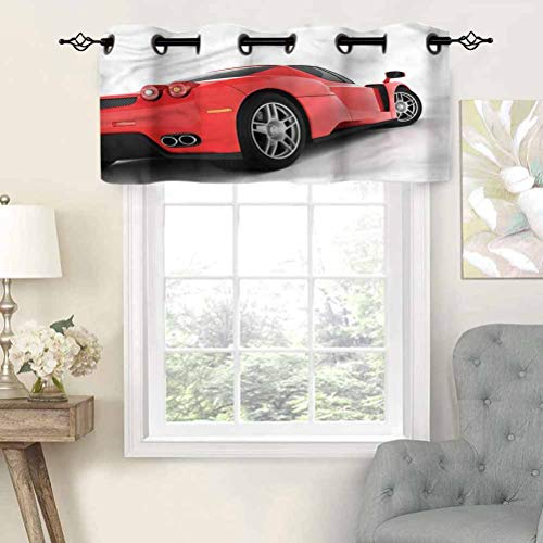 Hiiiman Blackout Curtain Valances Anti-UV Red Super Sports Car, Set of 1, 42'x18' for Indoor Dining Room Bedroom