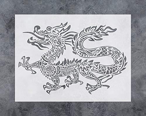 GSS Designs Schablone mit Drachenmotiv, chinesischer asiatischer Drache, 30,5 x 40,6 cm, zum Malen – Wandmöbel, Stoff, Holz, wiederverwendbare Vorlage für Wandaufkleber (SL-038)