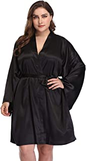 Women's Plus Robes Solid Sleepwear Long Sleeve Bathrobes Silky Loungewear