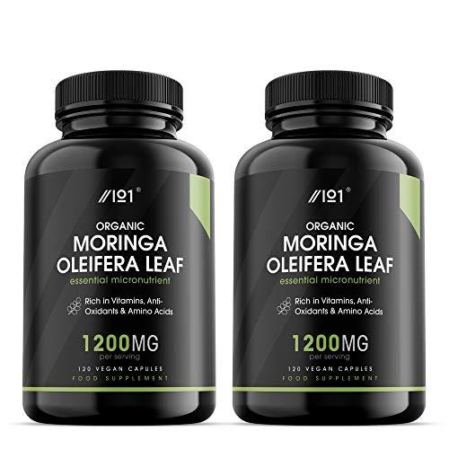 Organic Moringa Capsules - 1200mg - Raw Moringa Oleifera Leaf - Rich in Vitamins, Antioxidants & Amino Acid - Non-GMO, Gluten Free, 120 Vegan Caps (2 Pack)