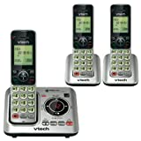 "VTech CS6629-3 DECT 6.0 Expandable Cordless Phone with Answering System and Caller ID/Call Waiting, Silver with 3 Handsets, 6.9"" x 6.7"" x 5.2"""