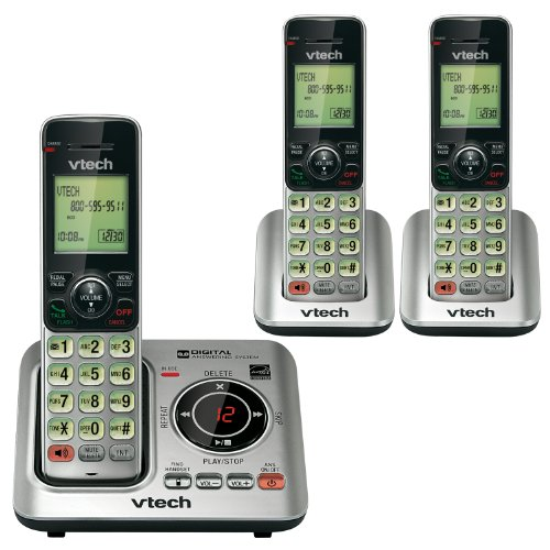 """VTech CS6629-3 DECT 6.0 Expandable Cordless Phone with Answering System and Caller ID/Call Waiting, Silver with 3 Handsets, 6.9"""" x 6.7"""" x 5.2"""""""