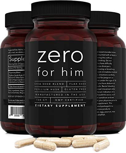 Zero for Him Dietary Fiber Supplement for Men (150caps) Strong Vegan Fiber Pills, Psyllium Husk, Flax Seeds and Chia Seeds Pure Supplement for Digestive Health, for Men Seeking Clean and Fun Night