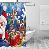 ZOEO Duschvorhang mit Weihnachtsmotiv, wasserdicht, großes Fenster, Badezimmer, 12 Haken, 182,9 x 182,9 cm