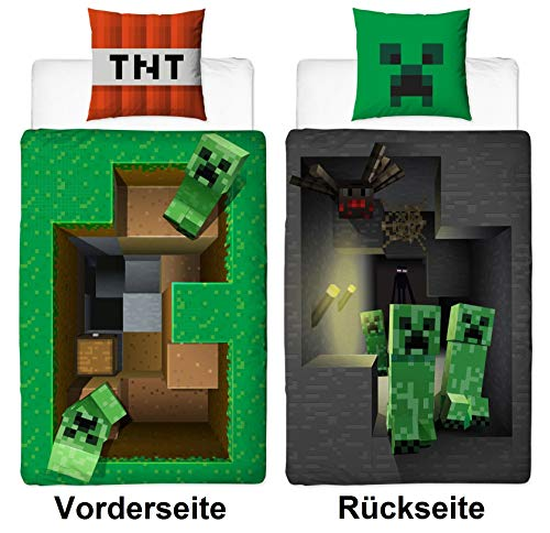 Character World Wende Bettwäsche-Set Minecraft Motiv, 135x200cm + 80x80cm, 100% Baumwolle Biber/Flanell, Motiv Craft Blöcke Winter-Bettwäsche