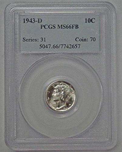 1943 D Mercury Dime MS66FB PCGS