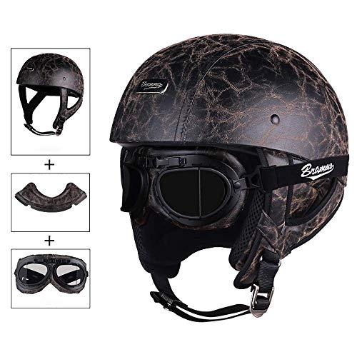 GuoYq Offener ABS-Motorradhelm, Retro-Chopper-Prince-Head-Jet-Cruiser-Helm, Harley-Halbhelm für Erwachsene mit Sonnenhut, Geschenk: Lätzchen, Brille