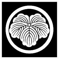 カッティングステッカー 家紋187 丸に蔦 20cm (白)