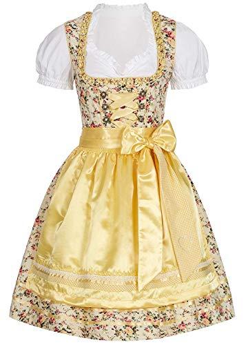 Seventyseven Lifestyle Damen Trachten Dirndl Kleid mit Schürze & Bluse gelb Weiss, Gr:L