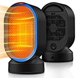 Toyuugo 600W Small Space Heater, Electric Personal Heaters for Office Ceramic Heaters With Tip-Over Overheat Protection Oscillating Swing Portable 2 Seconds Heat-up for Desk Top Bedroom Home & Office