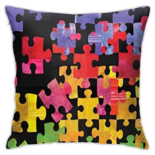 Matmates Autism Aware Matmate funda de almohada suave funda de almohada decorativa moderna cuadrada decoración del hogar coche 24 x 24 pulgadas