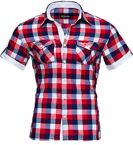 Reslad Herren Hemd Kurz-arm Männer Kurzarmhemd Bügelfrei Oberhemd Slim Fit karriertes Kontrast Muster RS-7065 Rot-Weiß M