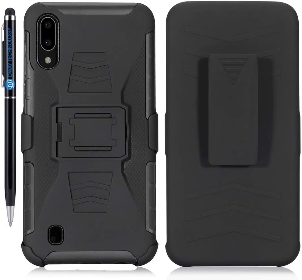 Case for Galaxy A10 DWaybox 3 in 1 Combo Hard Heavy Duty Case with Kickstand and Swivel Belt Clip on Shell Back Compatible with Samsung Galaxy A10 SM-A105 6.2 Inch (Black)