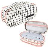 Federmäppchen, Large Pencil Case Big Capacity 3 Compartments Mäppchen für Schule & BüroTeenager, federtasche mädchen teenager,Geschenk,Rosa, Plaid (Rosa)