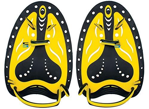 SEAC Pro Aletas de Entrenamiento de natación, Palas de Mano Ajustables, Unisex-Adult, Negro/Amarillo, S/M