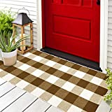 Buffalo Plaid Outdoor Rug - Buffalo Plaid Rug 23x51 - Hand-Woven Layered Door Mat - Fall Door Mat Outdoor - Halloween Doormat - Front Door Mat Outdoor/Welcome Mats for Front Door/Welcome Mat