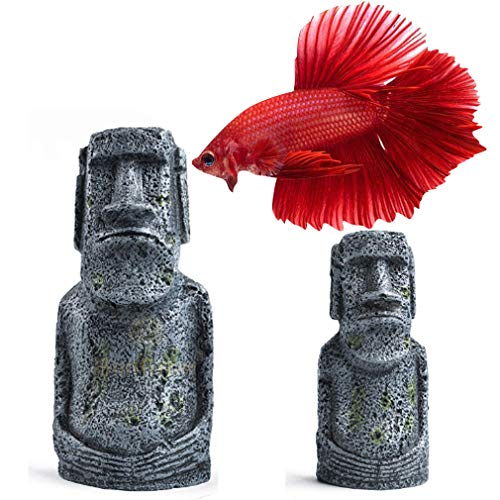 SunGrow Easter Island Aquarium Ornaments, 7 Inches and 5 Inches, Resin Replicas of World Famous Moai Statues, Great for Freshwater and Saltwater Fish Tanks, Terrariums and Vivariums, 2 Pack
