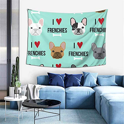 Tnbr51@ I Love Frenchie Dog Tapestry Forest Tapestry Nature Landscape Tapestry Wall Hanging for Room(60 x 40 inches)